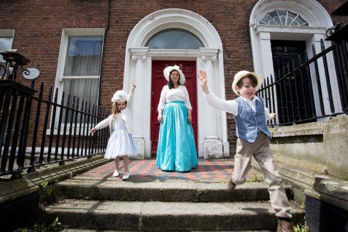 Great Grand Niece of James Joyce , Sabrina Joyce Kemper and her children Amelia aged 3 and Lucas  aged 5 at the Bloomsday Breakfast at the James Joyce Centre. Photo: Tom Honan.