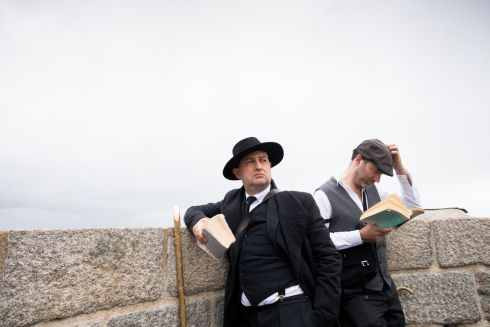 Roland Smith from London and Conor Humphries from Dublin at the Joyce Tower, Sandycove, Dublin for Bloomsday. Photo: Tom Honan.