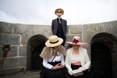 Padraig Cooke from Belfast,  Helen Colgan from  Clontarf  and Zan O' Doherty from Dun Laoighire at Joyce Tower, Sandycove, Dublin for Bloomsday. Photo: Tom Honan.