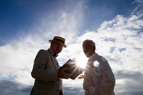 Seamus Cannon and Robert Nicholson , Curator of the James Joyce Museum in Sandycove, on Bloomsday, Joyce Tower in Sandycove on the 16th of June 2018. Photo: Tom Honan.