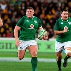 Ireland's Tadhg Furlong makes a break   supported by teammates Niall Scannell ) and Devin Toner  as Australian Wallabies defender Izack Rodda looks on. Photograph: William West/AFP/Getty