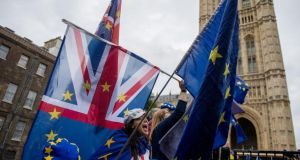 Anti-Brexit demonstrators gather outside the Houses of Parliament in London last week. Photograph: Chris J Ratcliffe/Getty Images