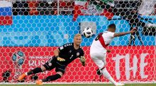Denmark's Kasper Schmeichel looks on as Peru's Christian Cueva misses a penalty during their Group C match at Mordovia Arena, Saransk, Russia. Photograph: Reuters