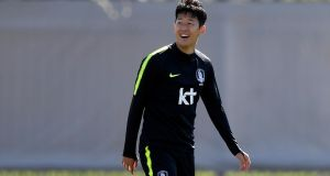 Son Heung-min at  a South Korean training session at the Spartak Stadium in Saint Petersburg ahead of the opening clash with Sweden. Photograph: Gabriel Bouys/Getty