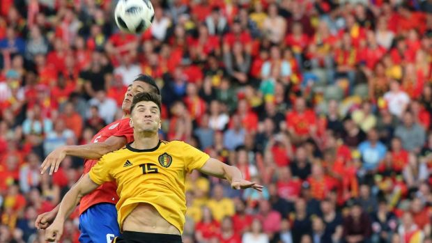 Belgium's Thomas Meunier in action with Costa Rica's Celso Borges during a recent friendly in Brussels. Photograph: Francois Walschaerts/Reuters