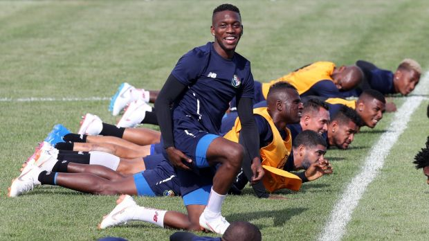 Panama's Jose Luis Rodriguez and team-mates during a training session at the Olympic Park Arena in Sochi. Photograph: Mohamed Messara/EPA