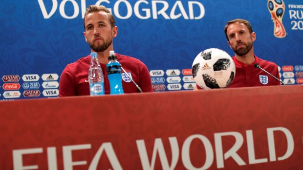 England's Harry Kane and manager Gareth Southgate during a team press conference at Volgograd Arena on Sunday. Photograph: Reuters/Ueslei Marcelino