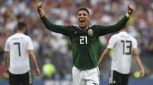 Mexico's defender Edson Alvarez celebrates after the final whistle of the Group F football match between Germany and Mexico at the Luzhniki Stadium in Moscow. Photograph: Patrik Stollarz/AFP/Getty Images