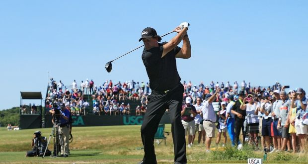 Phil Mickelson plays his shot from the eighth tee during the final round of  the 2018 b0349549becb