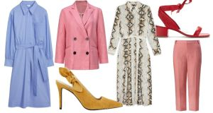 (Clockwise from left): Shirt dress, €99, Arket; Blazer, €79.99; Dress, €68, Topshop; Sandals, €148, Bimba y Lola;  Suit trousers, €69.99, Mango;  Courts, €69, Marks & Spencer