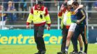 Tipperary's Brendan Maher leaves the field injured during their Munster SHC loss to Clare. Photo: James Crombie/Inpho