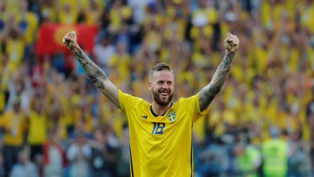 Sweden's Pontus Jansson celebrates victory after the match. Photograph: Carlos Barria/Reuters