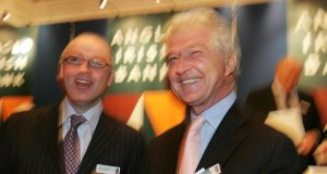 Anglo Irish Bank: in 2007 David Drumm (left, with chairman Seán Fitzpatrick) was paid €3.3 million, €2 million of it as a bonus for his magnificent stewardship. Photograph: Alan Betson