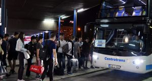 Migrants board a night bus at Sarajevo station,  on their way to the Bosnian town of Bihac on June 7th, 2018. Photograph:  Elvis  Barukcic/AFP/Getty