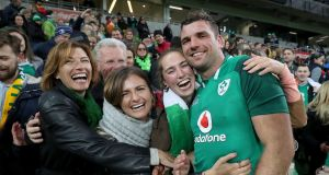 Tadhg Beirne celebrates with mother Brenda, father Gerry and sisters Jennifer, Alannah and Caoimhe after winning his first Ireland cap in the victory over Australia during the second Test at AAMI Park, Melbourne. Photograph: Dan Sheridan/Inpho