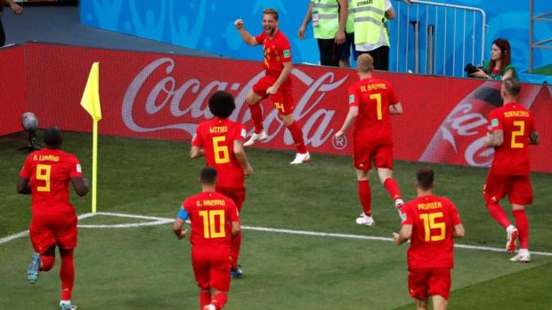 Belgium's Dries Mertens celebrates with team-mates after scoring their first goal in the game against Panama in Sochi. Photograph: Carlos Garcia Rawlins/Reuters