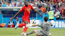 Belgium's Romelu Lukaku scores their third goal during the  World Cup  Group G game against  Panama at the  Fisht Stadium in  Sochi. Photograph: Francois Lenoir/Reuters
