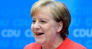 German chancellor Angela Merkel: CDU conservatives opposed to her  refugee policies have welcomed the pressure on her from Horst Seehofer. Photograph: Christian Bruna