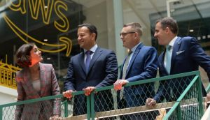 TD Kate O'Connell, Taoiseach Leo Varadkar, Amazon Web Services Ireland country manager Mike Beary and IDA Ireland chief executive Martin Shanahan at the official opening of AWS's new office in Dublin. Photograph: Dara Mac Dónaill
