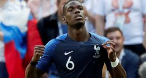 France's Paul Pogba celebrates his side's  second goal against Australia at the Kazan Arena, Kazan, Russia. It was later  amended to an Aziz Behich own goal. Photograph: Toru Hanai/Reuters