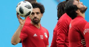 Egypt's Mohamed Salah during training on the eve of the Group A match against Russia in St Petersburg. Photograph: AP Photo