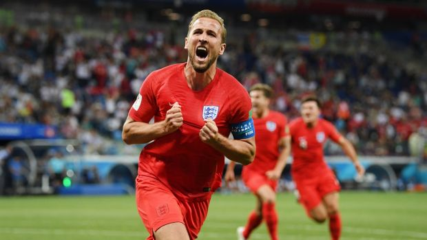 Harry Kane celebrates scoring England's winner in Volgograd. Photograph: Matthias Hangst/Getty