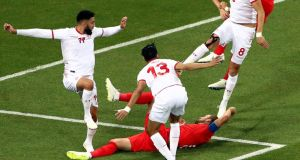 England's Harry Kane goes down in the area during the  World Cup Group G match against Tunisia at the Volgograd Arena. Photograph:  Tim Goode/PA Wire