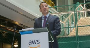 Taoiseach Leo Varadkar at the announcement by Amazon Web Services of its plan to add 1,000 new jobs in Dublin over the next two years. Photograph: Gareth Chaney Collins