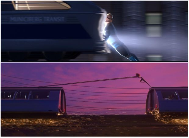 Then: Mr Incredible stopping a train from derailing. Now: Details such as sparks and a dusky sky punctuate Elastigirl's efforts to save a runaway train. Photograph: Disney/Pixar