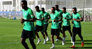 Saudi Arabia's players take part in a training session in St Petersburg. Photograph: Giuseppe Cacace/AFP/Getty Images