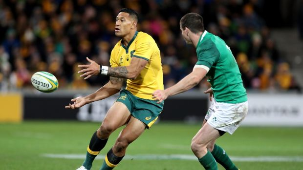 Australia have complained about blocking tactics Ireland used against Israel Folau. Photo: Mark Dadswell/EPA