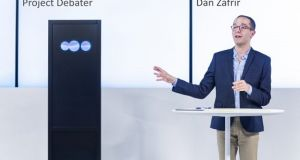 IBM's 'Project Debater' programme took on Dan Zafrir in a debate at the company's San Francisco office. Image: IBM website.