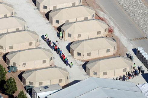 "Immigrant children, many of whom have been separated from their parents under a new ""zero tolerance"" policy by the Trump administration, are being housed in tents next to the Mexican border in Tornillo, Texas, U.S. June 18, 2018.        REUTERS/Mike Blake"