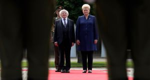 President Michael D Higgins meets his Lithuanian counterpart  Dalia Grybauskaite during his two day visit to Lithuania. Photograph: Maxwells.