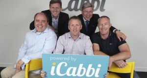 iCabbi's leadership team: Business development director Niall Prenty, back row left, Michael Tope, managing director, technical director and co-founder Niall O'Callaghan, front left, Gavan Walsh, co-founder chief executive, and Bob Nixon, sales director and co-founder. Photograph: Conor McCabe