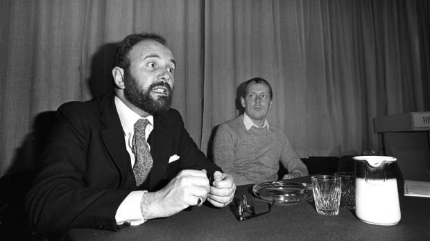 David Norris back in 1980 as chairman of the National Gay Federation with Geoffrey Dudgeon of the Northern Ireland Gay Rights Association. Photograph: Pat Langan