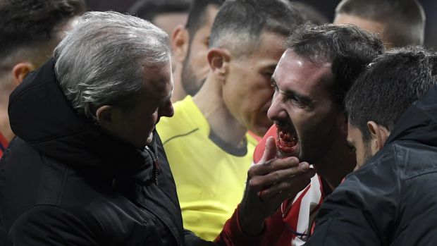 Uruguay defender Diego Godin required surgery after being elbowed in the mouth playing for Atletico Madrid earlier this year. Photograph: Gabriel Bouys/AFP/Getty Images)