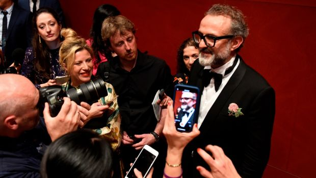 Italian chef Massimo Bottura talks to the press after receiving the Best Restaurant in the World award for his restaurant Osteria Francescana during the World's 50 Best Restaurants awards in Bilbao on Photograph: Gilleneaander Gillenea/AFP/Getty Images