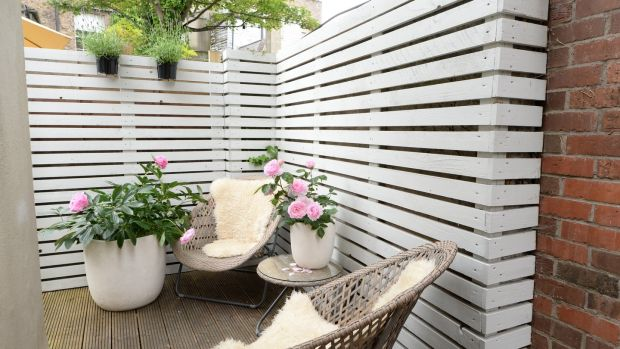 Back patio in Ruthie Ashenhurst's Ballsbridge home. Photograph: Dara Mac Dónaill