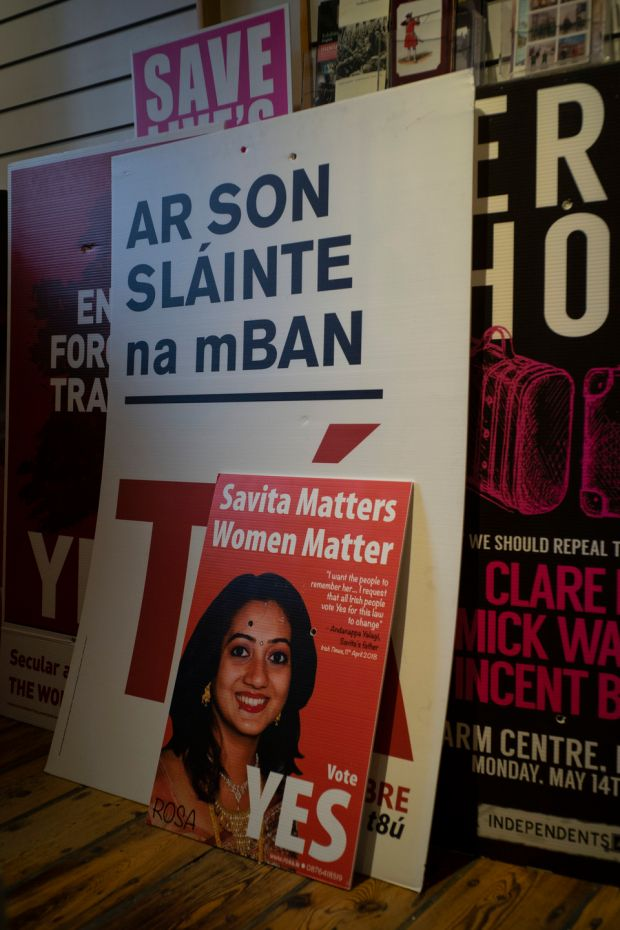 Posters used by campaigners during the abortion referendum that National Museum curator Brenda Malone, recently acquired. Photograph: Paulo Nunes dos Santos/The New York Times