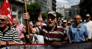 Greek pensioners take part in an anti-austerity rally in Athens this week. About two thousand pensioners took part in a rally to oppose government cuts to their pensions.Photograph: Yannis Kolesidis/EPA