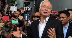 Malaysia's former prime minister Najib Razak. A recent raid on an apartment linked to his wife Rosmah and him, saw 274 Birkin handbags seized as well as 72 bags of cash, jewellery and gold bars. Photograph: Mohd Rasfan/Getty Images