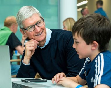 Apple CEO Tim Cook with 14-year-old app developer Niall Kehoe at Apple in Cork