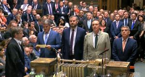 MPs line up to read out the vote in the House of Commons. Photograph: PA Wire