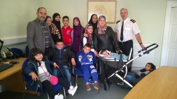 The Al-Sulaimans shortly after they arrived in Wicklow, with Garda Supt Paul Hogan