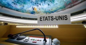 The US name plate one day after the United States announced its withdrawal at the 38th session of the UN Human Rights Council at the UN headquarters in Geneva. Photograph: Martial Trezzini/EPA