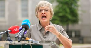 Minister for Children Katherine Zappone speaking to media in response to the findings of the Hiqa report into Tusla on Tuesday. Photograph: Gareth Chaney/ Collins