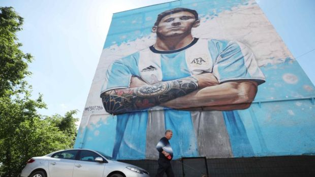 A giant painting depicting Argentina's Lionel Messi is seen on the wall of the building in Russia during the World Cup. File photograph: Albert Gea/Reuters
