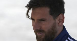 Argentina captain Lionel Messi ahead of training at the team's World Cup base camp in Bronnitsy, near Moscow. Photograph: Juan Mabromata/AFP/Getty Images