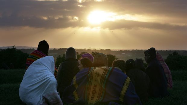 Witnessing the summer solstice sunrise on the Hill of Tara in 2006. Photograph: Frank Miller